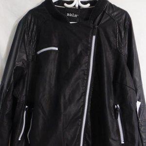 MBLM vintage style, faux leather jacket, black